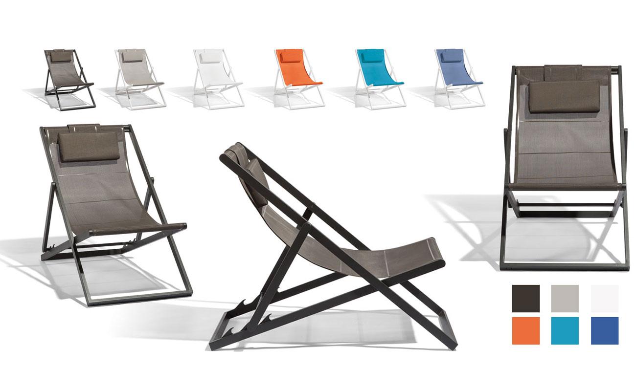 Liegestuhl - Relax. Kaum ein Möbel erinnert einen mehr an Sommer, Strand und Urlaub. Wir haben den bewährten Klassiker überarbeitet und heraus kam ein Liegestuhl aus pulverbeschichtetem Aluminium mit einer strapazierfähigen Bespannung aus netzartigen Textileen Ob auf Balkonien oder im Grünen lässt es sich bequem entspannen. Will man mit der Sonne wandern, wird der leichte Liegestuhl einfach zusammen geklappt oder bei Nichtgebrauch platzsparend verstaut. Die Materialen sind für den ganzjährigen Einsatz im Freien gerüstet.